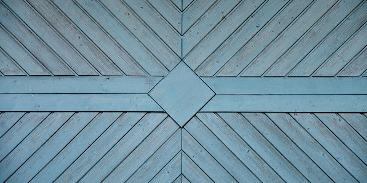 blue faded garage door